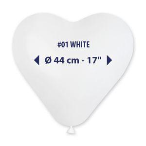 """Palloncino 17"""" Cuore Bianco Pz.50 CR17-01"""